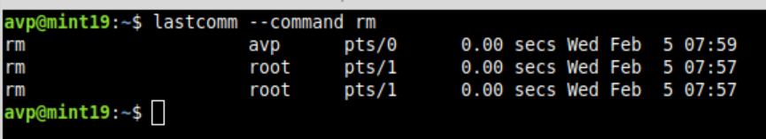 finding when and who used rm command using lastcomm in Linux Mint