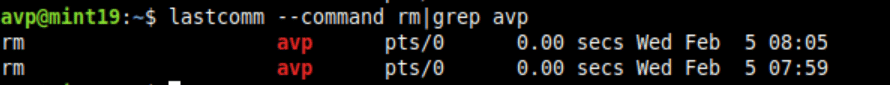 using grep to filter lastcomm output in Linux Mint