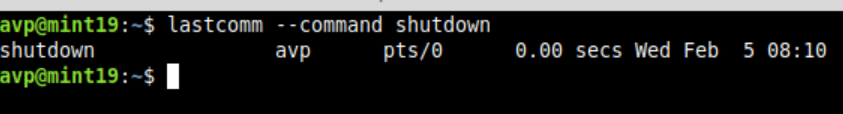 finding when shutdown was used in Linux Mint using lastcomm command