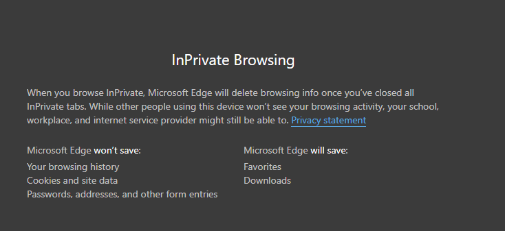 private mode information when using the new Edge browser