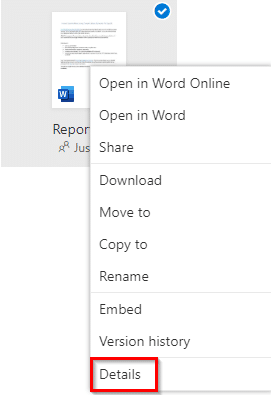 choose Details for shared OneDrive files to manage access settings