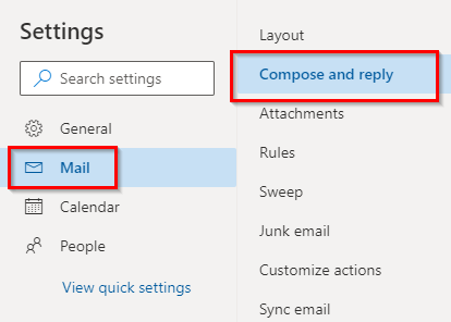 Mail related options in Outlook.com