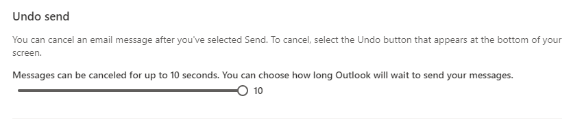 enabling the Undo send feature in Outlook.com for 10 seconds