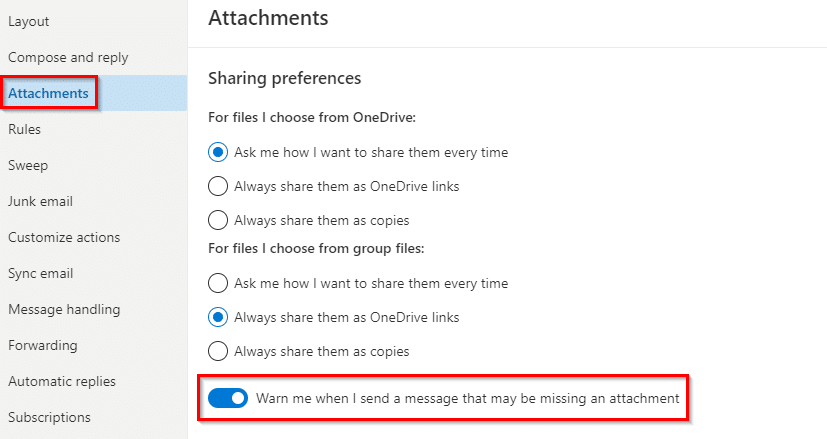 Attachments related settings in Outlook.com