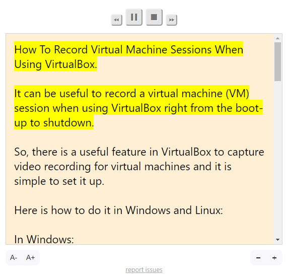 narration window when using Read Aloud to read out web pages in Chrome