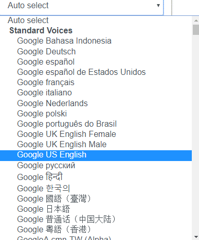 a list of voices available in Read Aloud for Chrome