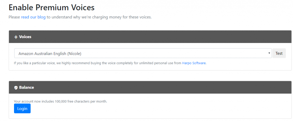 pricing for premium voices to use in Read Aloud for Chrome