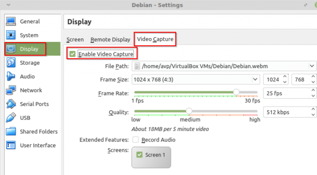 configuring VM recording options in VirtualBox for Linux Mint