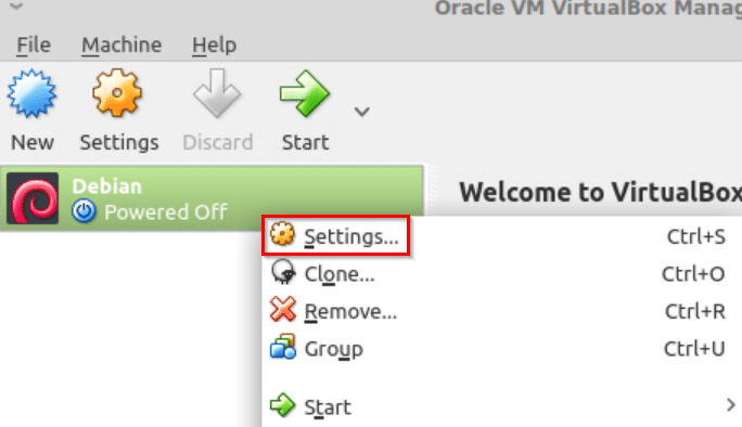 configuring VM settings in VirtualBox for Linux Mint