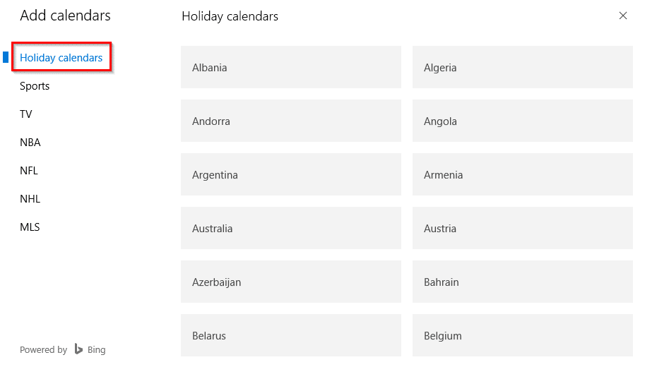 calendars for various events and countries in Calendar app