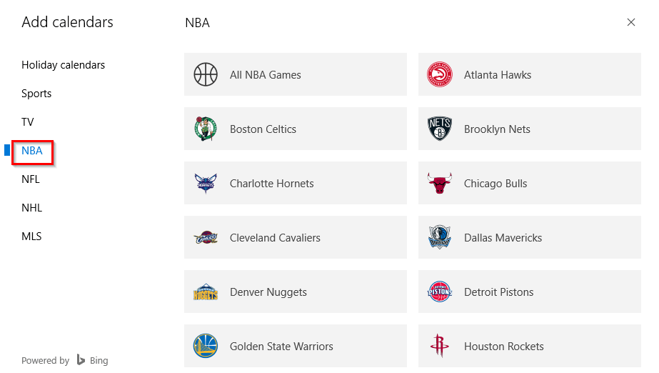 NBA and other events can be added to the Calendar app
