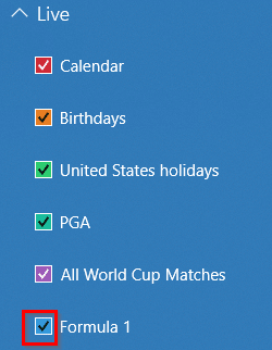A list of enabled calendars in the Calendar app