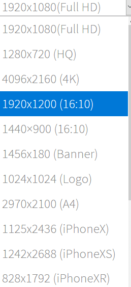 choosing the image size and resolution in Background Generator