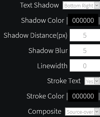 changing text settings like color and effects in Background Generator