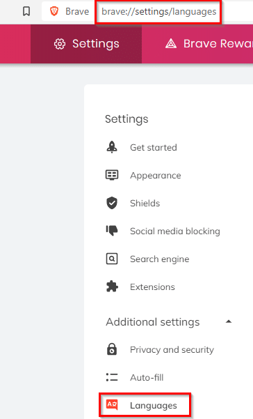 Brave browser language settings