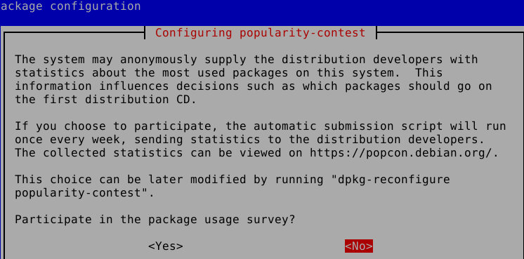 opt-in or out of the popularity contest to send anonymous statistics in Debian