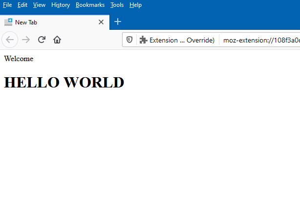 a local HTML file displayed as the default new tab in Firefox using New Tab Override