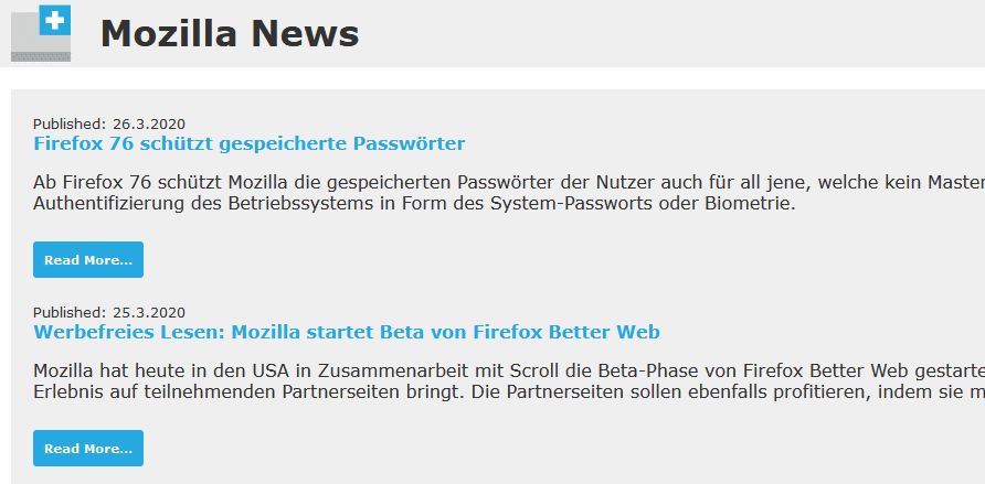 Mozilla News (German) as the default new tab using New Tab Override