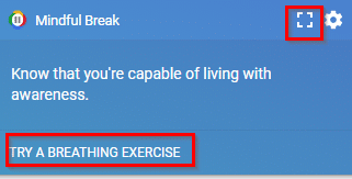 Mindful Break tips in Google Chrome