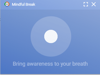on-screen instructions for Mindful Break in Chrome