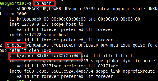 using the ip command to list the network interfaces