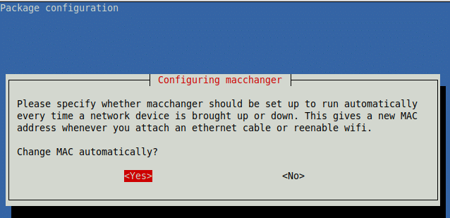 enable automatically changing of MAC address using macchanger