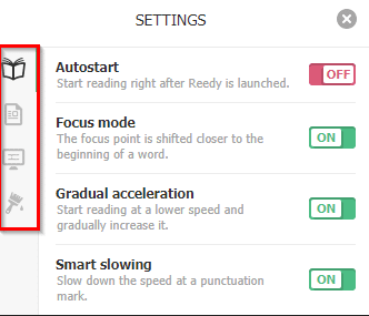 change autostart and other Reedy options