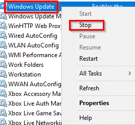 stopping the Windows Update service in Windows 10