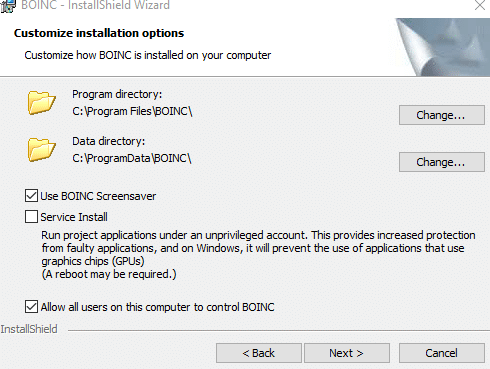 customizing BOINC install in Windows