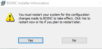 rebooting PC after BOINC is installed