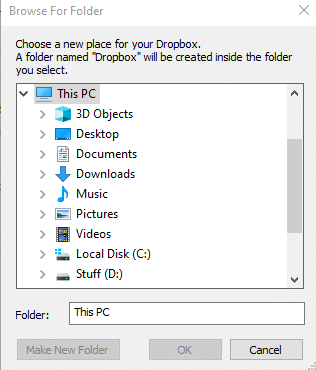 choosing a new path for Dropbox folder in Windows