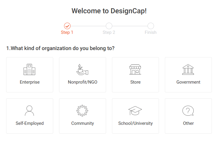 signing up for DesignCap account