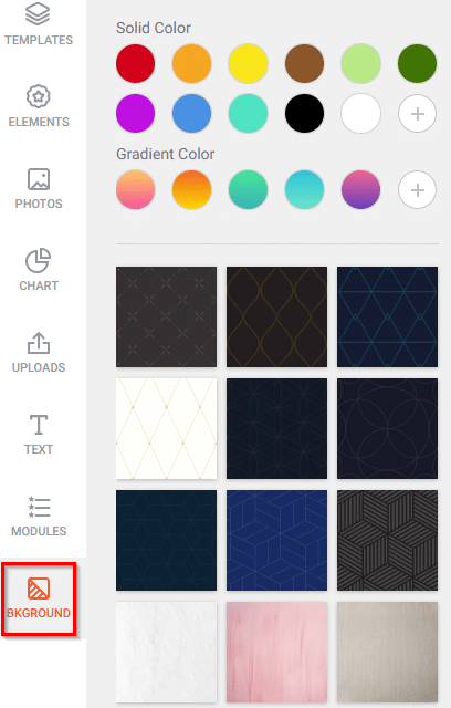 customizing background colors in DesignCap