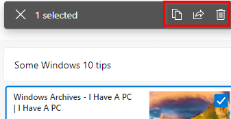 choosing individual items from the collection to share or delete in the new Microsoft Edge browser