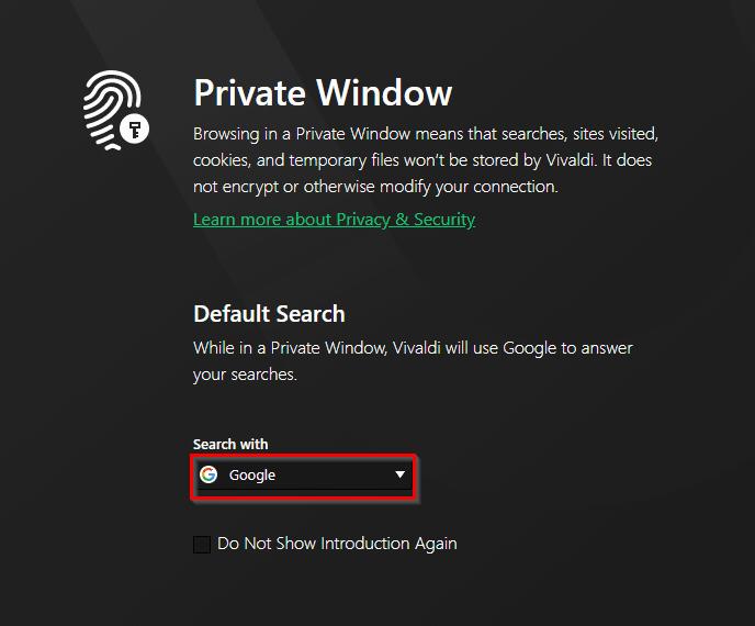 new private window with private search in Vivaldi