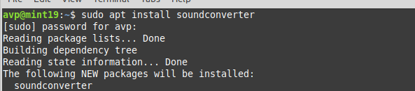 installing Sound Converter in Linux Mint 19