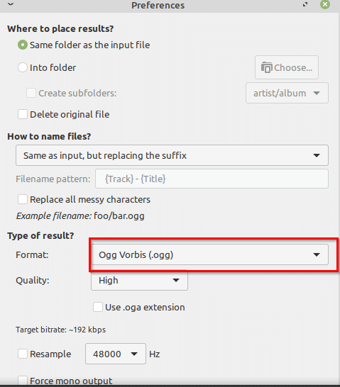 choosing output audio format in Sound Converter