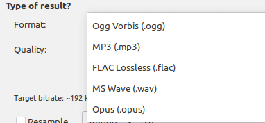 different available output audio formats in Sound Converter