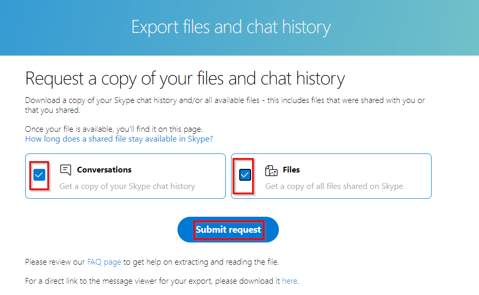choosing what to backup or download from Skype account