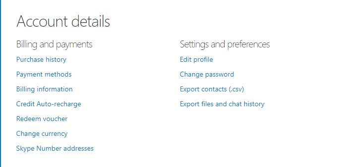 skype account settings page