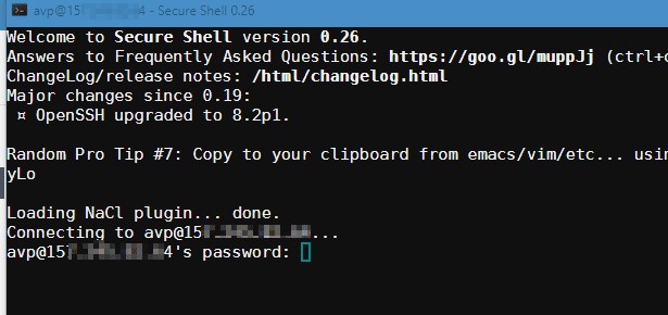 logging in using Secure Shell add-on in Chrome