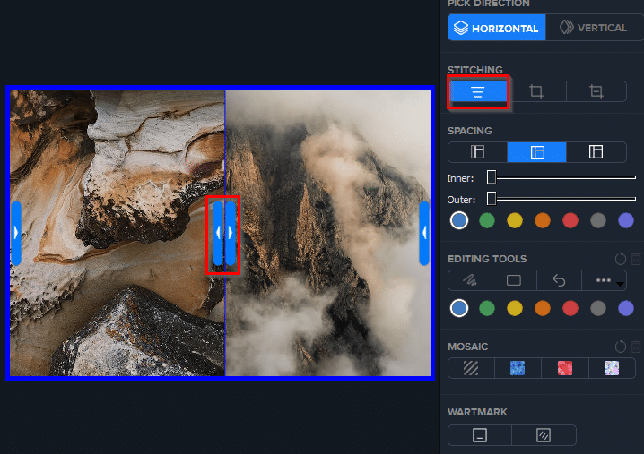 cropping and stitching images in Photo Stitcher
