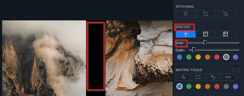 add spacing between images using Photo Stitcher