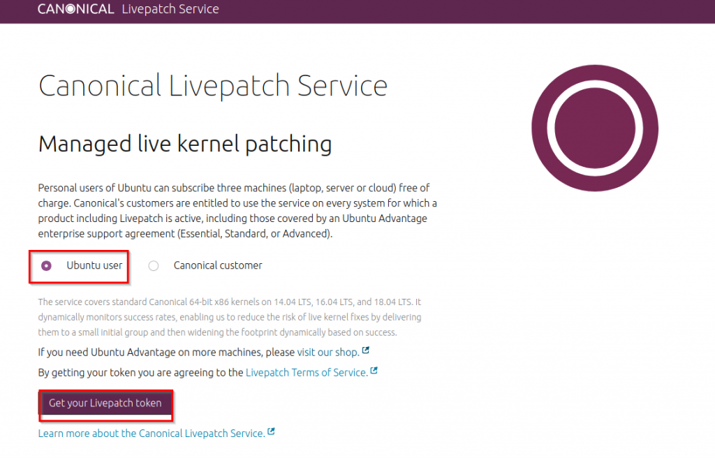 Canonical Livepatch Service portal
