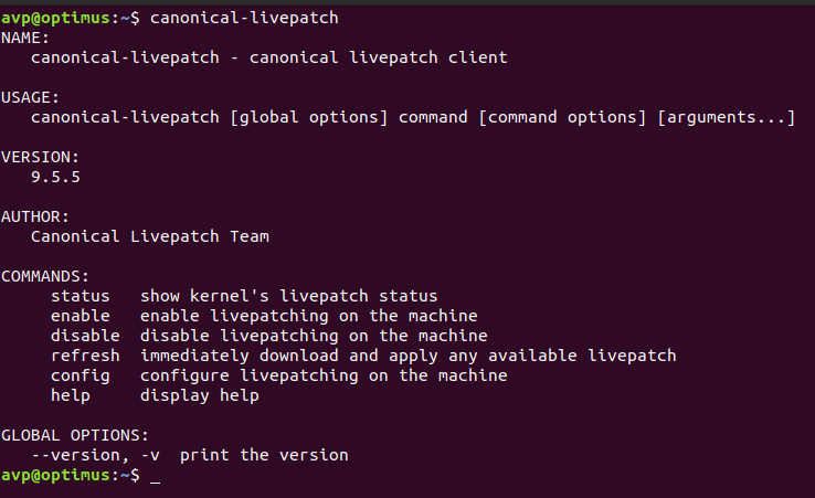 a list of commands for Canonical Livepatch Service