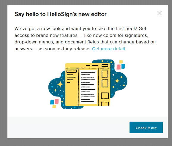 HelloSign editor for adding signatures