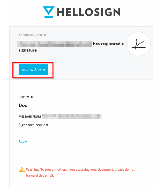 signing received documents from HelloSign