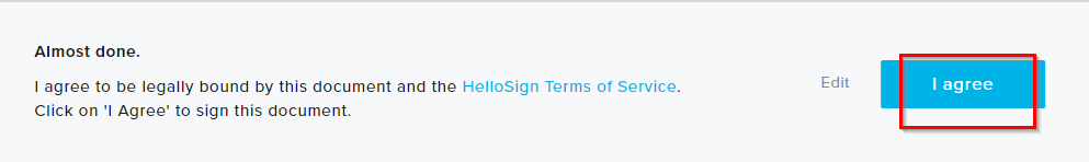 agreeing to ToS for HelloSign