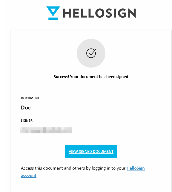 sender notified about the document signed using HelloSign