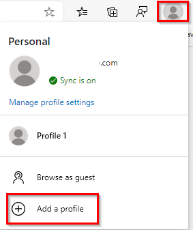 adding a new profile in the new Edge browser